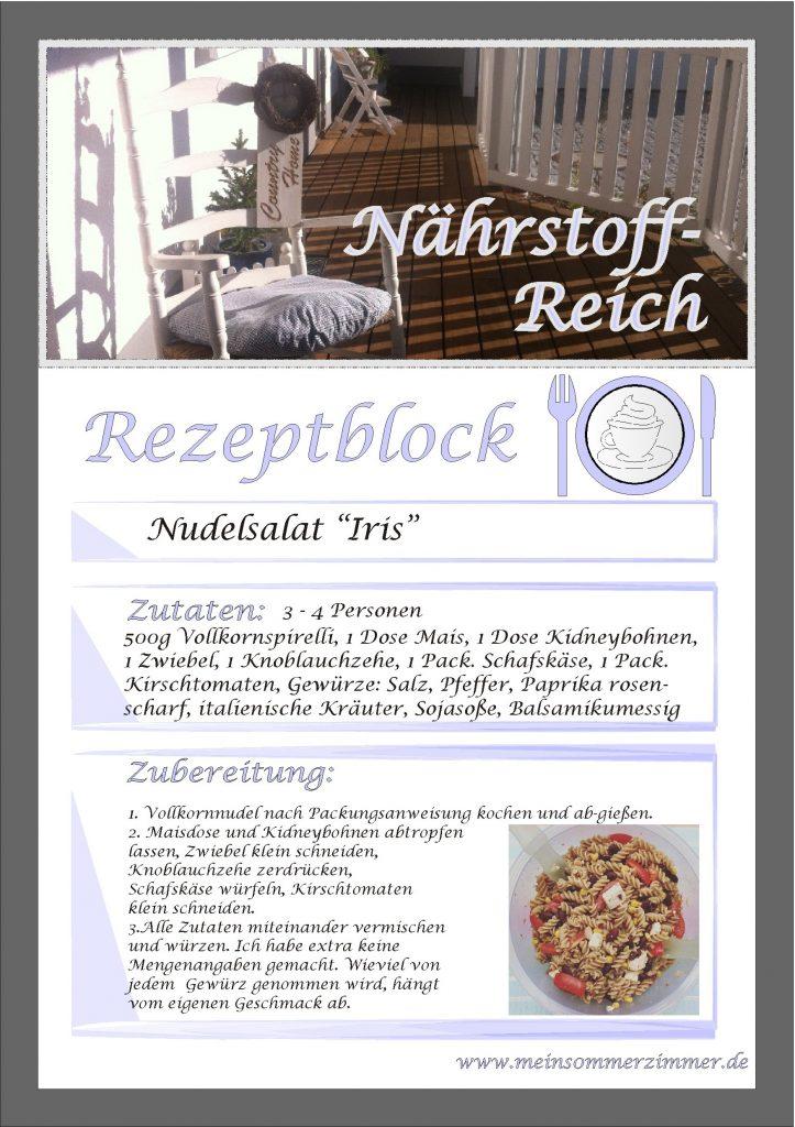 """Sommerzimmer-Rezept: Nudelsalat """"Iris"""""""