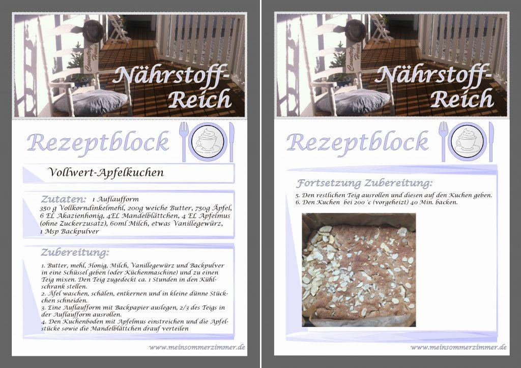 Sommerzimmer-Rezept: Vollwertapfelkuchen